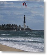 Pompano Beach Kiteboarder Hillsboro Lighthouse Catching Major Air Metal Print