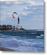 Pompano Beach Kiteboarder Hillsboro Lighthouse Metal Print