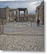 Pompeii View With Mosaic Metal Print
