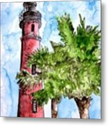 Ponce De Leon Inlet Florida Lighthouse Art Metal Print