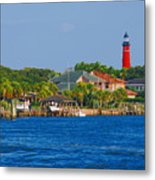 Ponce Inlet Waterfront And Lighthouse Metal Print