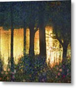 Pond And Euro Garden Metal Print