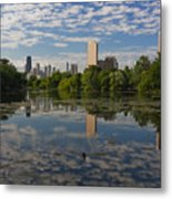 Pond And The Chicago Skyline Metal Print
