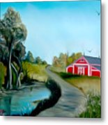 Pond By The Red Barn Dreamy Mirage Metal Print