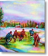 Pond Hockey Blue Skies Metal Print