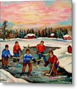Pond Hockey Countryscene Metal Print