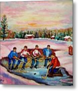 Pond Hockey Warm Day Metal Print