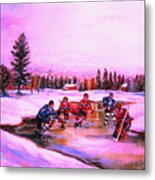 Pond Hockey Warm Skies Metal Print