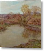 Pond In Early Autumn Metal Print