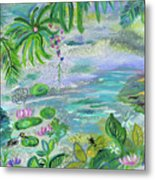 Pond In The Morning Metal Print