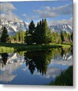 Pond Reflection At Schwabacher Landing Metal Print
