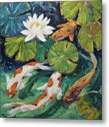 Pond Swimmers Koi Metal Print