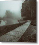 Pond Walk In Black And White Metal Print