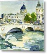 Pont de Change Watercolor Paintings of Paris Metal Print