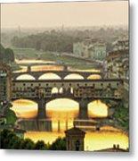 Ponte Vecchio Enlighten By The Warm Sunlight, Florence. Metal Print