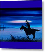 Pony Express Rider Blue Metal Print