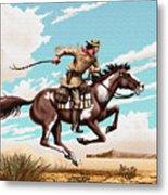 Pony Express Rider Historical Americana Painting Desert Scene Metal Print