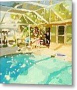 Pool And Screened Pool House Metal Print