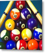 Pool Balls And Cue Sticks Metal Print