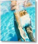 Pool Lady Metal Print