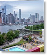 Pool With A View, Brooklyn, New York #130706 Metal Print