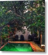 Pool With Tree Metal Print
