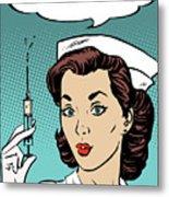 Pop Art Nurse Woman With A Needle And Speech Bubble Metal Print