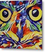 Pop Art Owl Face-1 Metal Print