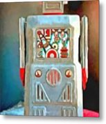 Pop Art Robot R-1 Metal Print