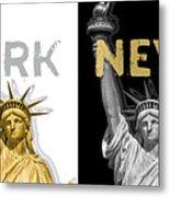 Pop Art Statue Of Liberty - New York New York - Panoramic Golden Silver Metal Print