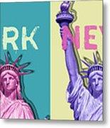 Pop Art Statue Of Liberty - New York New York - Panoramic Metal Print