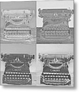 Pop Art Typewriter Collage Black And White Metal Print