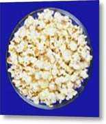 Popcorn In Glass Bowl On Blue Background Metal Print