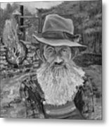 Popcorn Sutton - Black And White - Rocket Fuel Metal Print