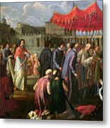 Pope Clement Xi In A Procession In St. Peter's Square In Rome Metal Print