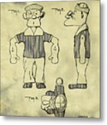 Popeye Doll Patent 1932 In Weathered Metal Print