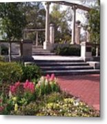 Popp Fountain Brickway Path Metal Print