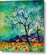 Poppies And Appletrees In Blossom Metal Print