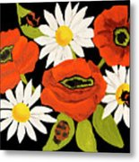 Poppies And Camomiles, Oil Painting Metal Print