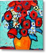 Poppies And Daisies Bouquet Metal Print