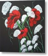 Poppies And Lace Metal Print