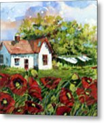 Poppies And Laundry Metal Print