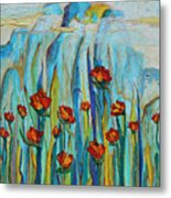 Poppies And Mountains Metal Print