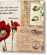 Poppies And Postcards Metal Print