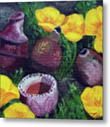 Poppies And Pottery Metal Print