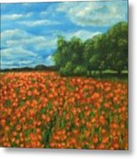 Poppies Field Original Painting Metal Print