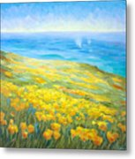 Poppies Greeting Whales Metal Print