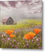 Poppies In A Dream Watercolor Painting Metal Print