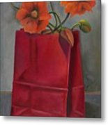 Poppies In A Red Bag Metal Print