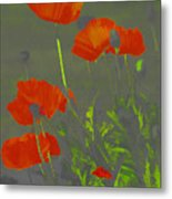 Poppies In Neon Metal Print
